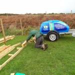 Trevor building release aviary. Photo by Liz Corry