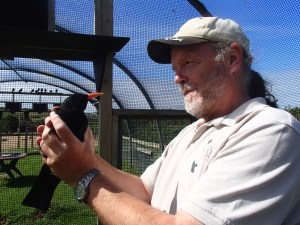 Glyn testing his Jedi mind skills during a ringing session. Photo by Harriet Clark.