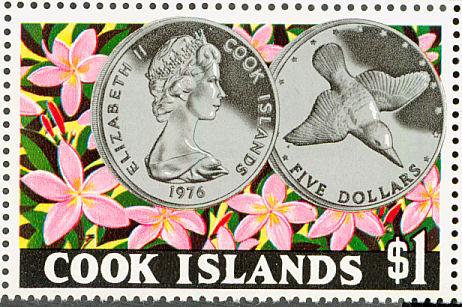 Mangaia kingfisher on stamp