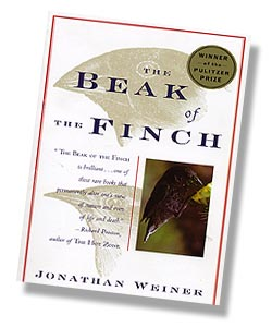 Cover of Jonathan Weiner's book, The Beak of the Finch, a story of evolution in our time