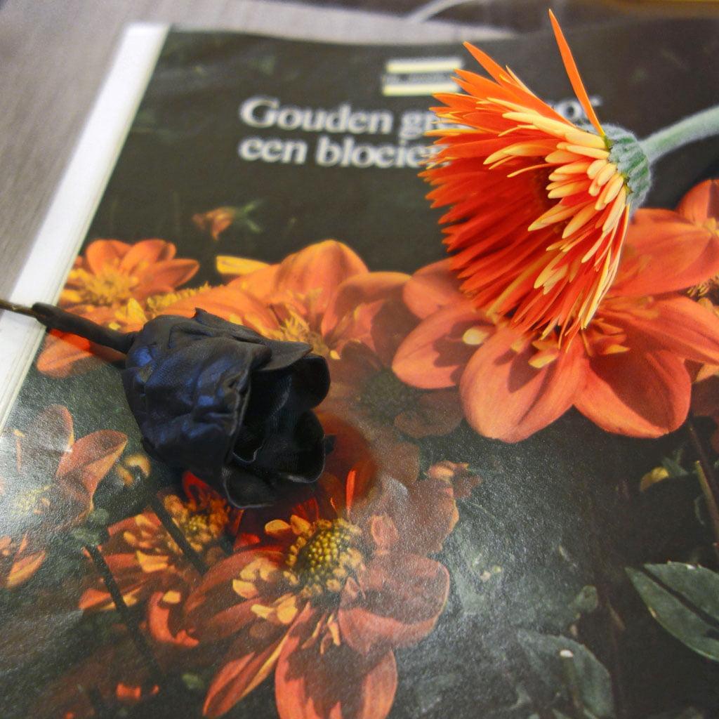 bloem van was en echte bloem