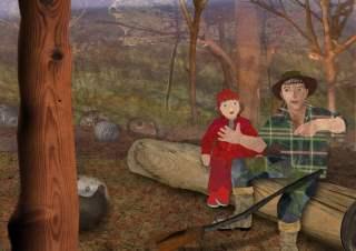 Roodkapje illustratie 5: de jager vertelt
