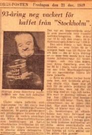 Anna Österberg, 93, tar emot julkaffet