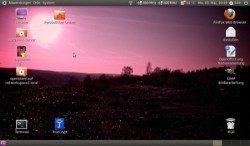 Bild: Mein GNOME Desktop auf dem ACER ASPIRE ONE 110 unter UBUNTU 10.04 LTS mit einem Foto der Martinsschächter Halde bei Wimmelburg.