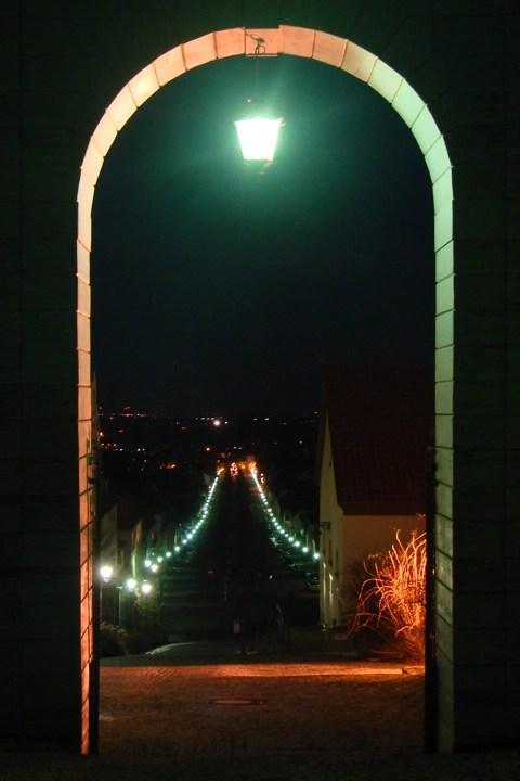 Bild: Blick vom Schloss auf die Stadt Ballenstedt. SONY DSC-H5.