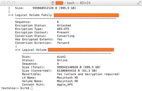 """Bild: Feststellen des Verschlüsselungsfortschrittes der Festplatte des Mac durch den Befehl """"diskutil cs list"""" im Terminal."""