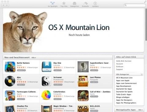 Bild: Mac OS X 10.8 Mountain Lion in Apple's App Store.