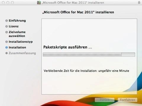 Bild: Microsoft Office für Mac 2011 ist nun kurz vor dem Abschluss der Installation.