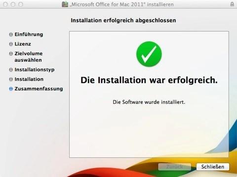 """Bild: Das erste Update für Microsoft Office:mac 2011 ist installiert. Klicken Sie auf """"Schließen"""" um das Update abzuschließen. Eventuell müssen Sie die vorhergehenden Schritte mehrfach wiederholen, bis Office auf dem aktuellen Stand ist."""