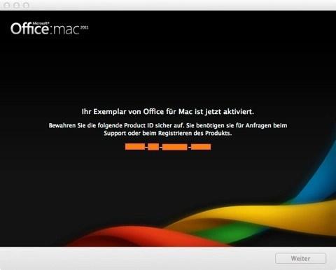 """Bild: Den Produktschlüssel finden Sie auf der Hülle der Installations-DVD von Microsoft Office:mac 2011. Geben Sie ihn ein und drücken Sie auf """"Weiter""""."""