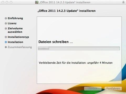 Bild: Auch beim Update wird angezeigt, wie lange der Vorgang etwa noch dauern wird.