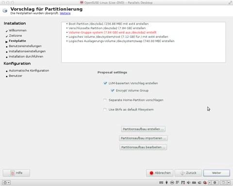 """Bild: Wenn Sie sich ganz sicher sind, dass Sie openSUSE 12.1 mit verschlüsselter Festplatte installieren möchten, können Sie mit """"Weiter"""" zum nächsten Schritt gehen."""
