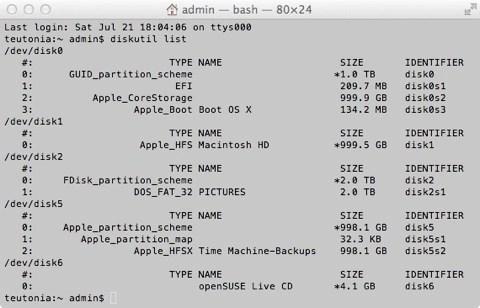"""Bild: der Befehl """"diskutil list"""" zeigt unter Mac OS X alle eingehängten Dateisysteme, auch den USB Stick, auf dem openSUSE 12.1 installiert werden soll."""