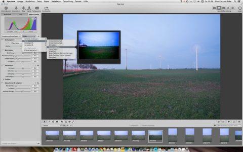 Bild: Sie können jetzt mit Apple Aperture 3.5 ganz normal arbeiten - inklusive deutscher Menüs.