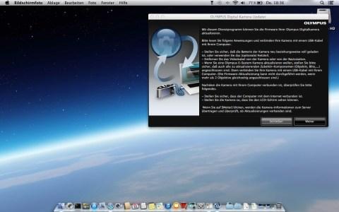 Bild: Starten des OLYMPUS DIGITAL CAMERA UPDATER unter Mac OS X.