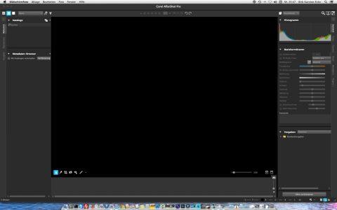Bild: Der Startbildschirm von Corel AfterShot Pro 2 kommt unter Mac OS X recht nüchtern, aber aufgeräumt daher.