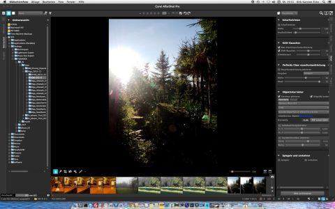 Bild: Corel AfterShot Pro erlaubt eine gewisse Anpassung der Benutzeroberfläche an die Vorlieben des Fotografen. Hier sind die Miniaturansichten unter dem Hauptfoto angeordnet.