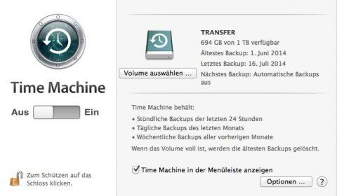 Bild: Das Anlegen der Time Machine Backups auf Festplatten von MacBooks kann man verhindern. Dazu einfach in den Einstellungen der Time Machine die automatischen Backups ausschalten. Manuelle Time Machine Backups sind dann immer noch möglich.