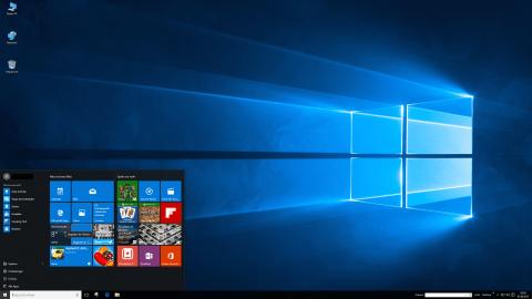 Bild: Der Dektop von Windows 10 mit dem Startmenü.