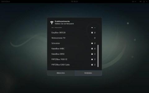 Bild: Nach der Installation von iwlwifi sollten alle verfügbaren WLAN-Netze verfügbar sein.