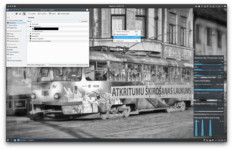 """Bild: Ich möchte noch eine Verknüpfung von Google Drive auf meinen KDE Desktop haben. Dazu ziehe ich den Eintrag meines Accounts mit der linken Maustaste auf den Desktop und wähle """"Hierher verknüpfen""""."""