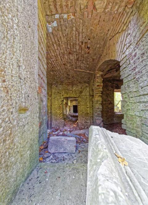 Bild: Die Ruinen des Schlosses Dwasieden am Klocker Ufer in der Nähe des Hafens von Sassnitz. Blick in den Keller des Schlosses. Klicken Sie auf das Bild um es zu vergrößern.