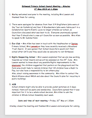 School Council Minutes 3rd May 2019