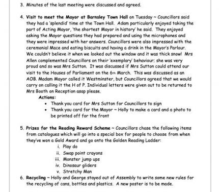 School Council Meeting – Minutes 31st January 2020