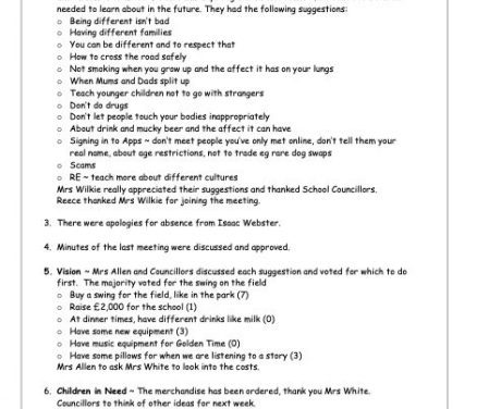 School Council Meeting 16th October 2020