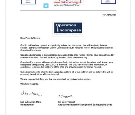 Operation Encompass Letter to Parents