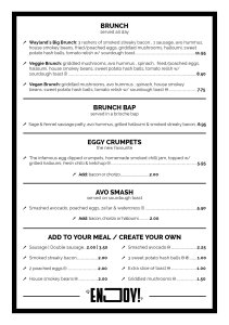 Waylands Yard Brunch Menu