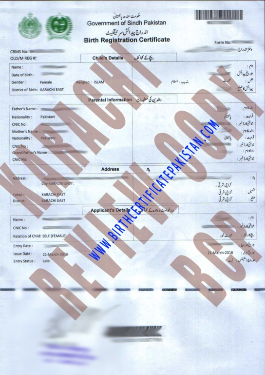 Sample nadra birth certificate karachi birth certificate karachi s yadclub Image collections