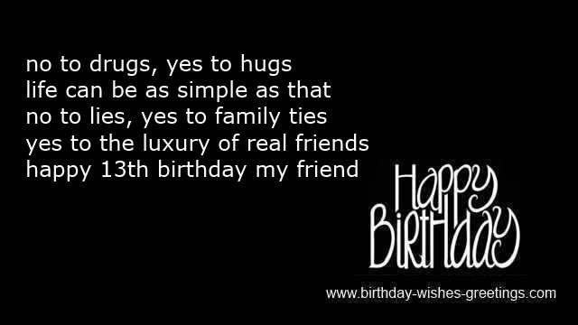 13th Birthday Poems For Boy And 13 Year Old Bday Wishes For Girl