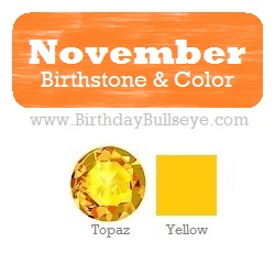 November Birthstone and Color - Topaz