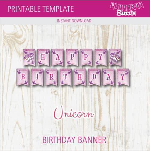 Free Printable Rainbow Unicorn Birthday Banner Birthday Buzzin