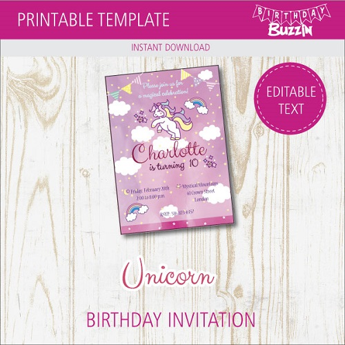 free printable rainbow unicorn birthday