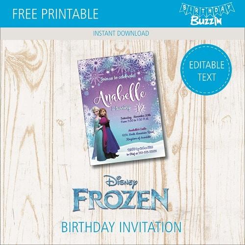 free printable frozen birthday party