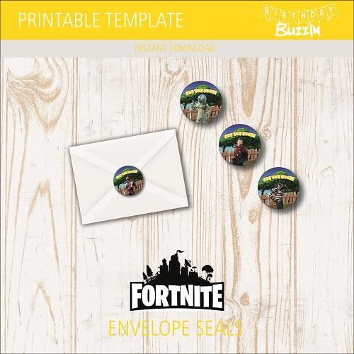Printable Fortnite Envelope Seals Birthday Buzzin