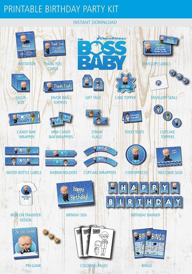 boss baby birthday party printable kit