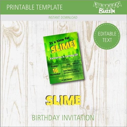 Free Printable Slime Birthday Party Invitations Birthday Buzzin