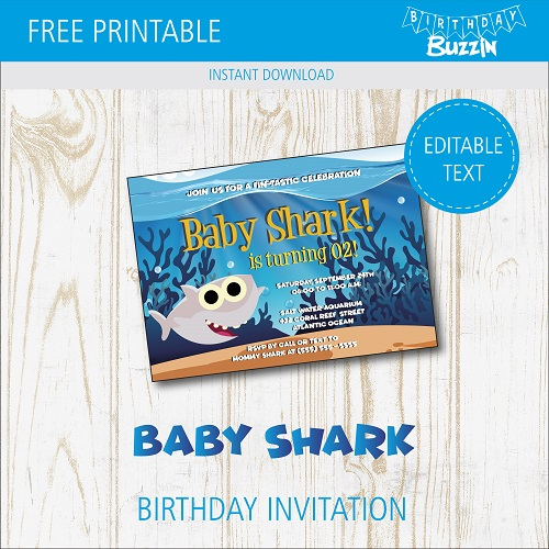 free printable baby shark birthday