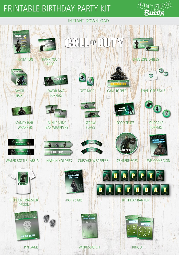 call of duty birthday party printables
