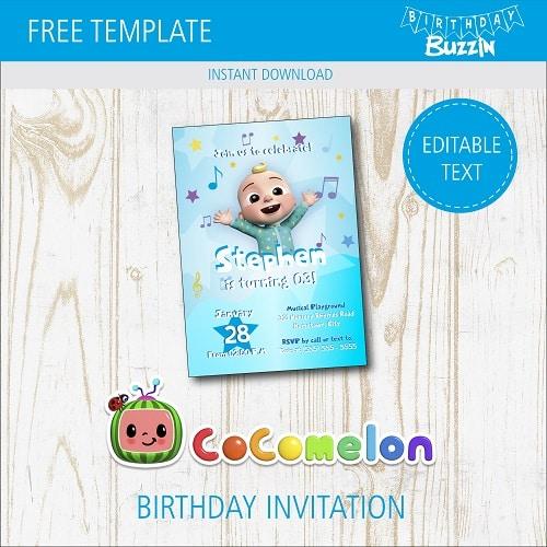 free printable cocomelon birthday party