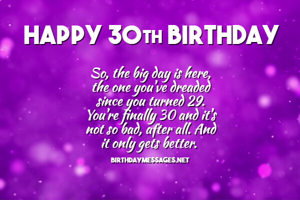 30th Birthday Wishes Quotes Happy 30th Birthday Messages