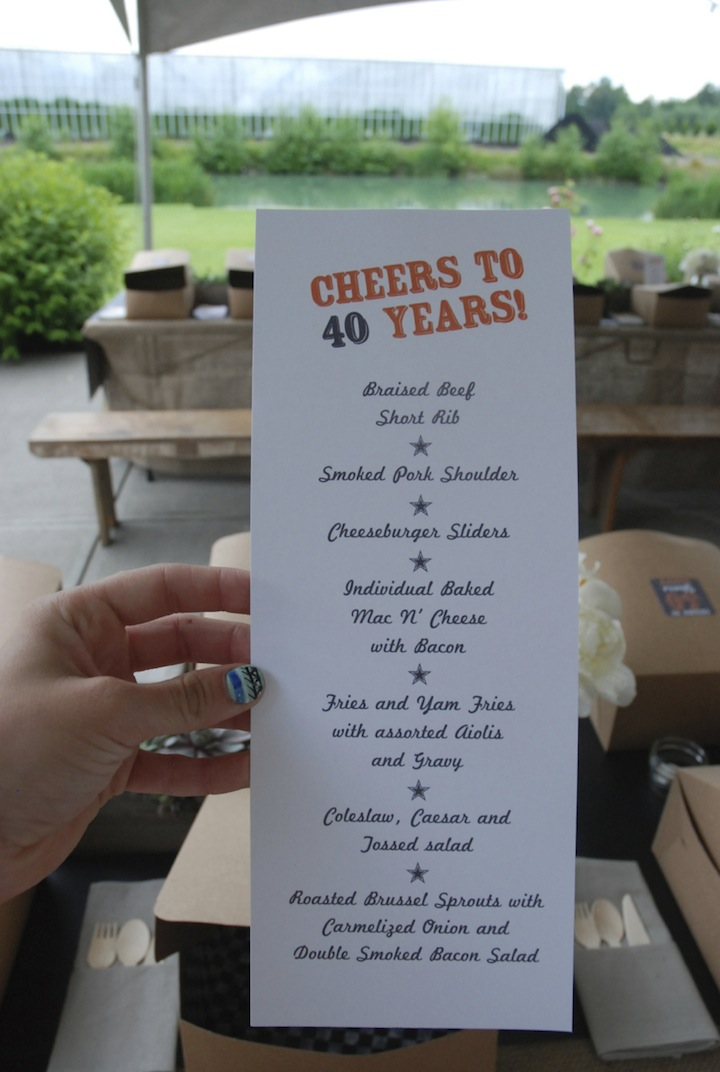 Lunch Menu 40th Birthday Party