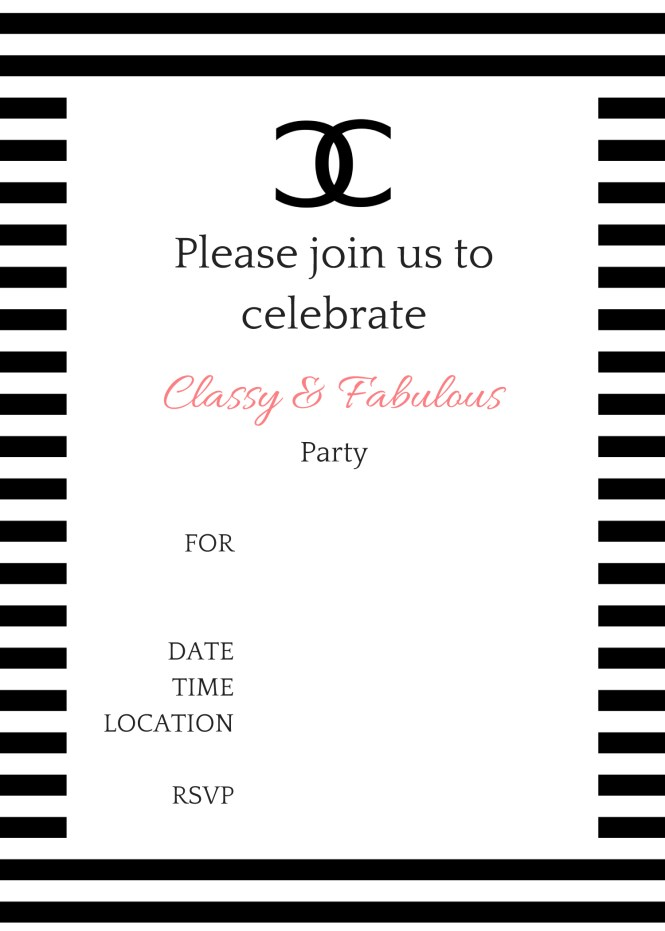 black and white themed birthday party invitations : Cogimbo.us
