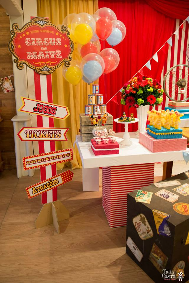 Very Classic Red & White Circus Themed Birthday Party - Birthday Party  QX62