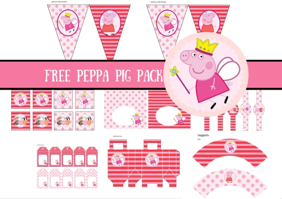 Free princess peppa pig printable birthday party ideas for Peppa pig cake template free