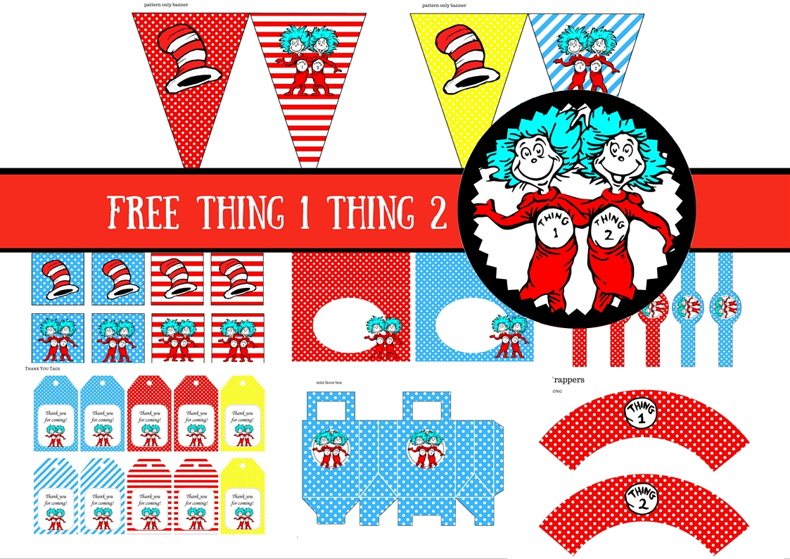 graphic regarding Thing 2 Logo Printable known as Absolutely free Dr Seuss Detail 1 Issue 2 Twins Celebration Printable