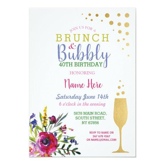 brunch bubbly gold birthday floral